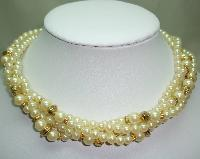 1980s Glass Faux Pearl Bead Gold Torsade Twist Necklace Made in Italy