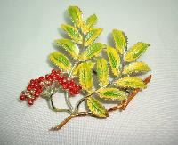 £27.20 - 1960s Signed Exquisite Leaf Series Mountain Ash Leaf and Berry Brooch