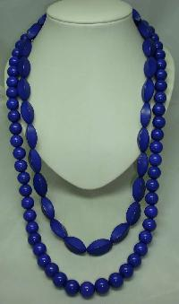 Chunky 1950s Style 2 Row Purple Lucite Bead Necklace