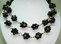 Fabulous Black and Gold Glass Bead Flower Cluster Gold Link Necklace