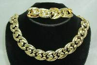 Vintage 80s Chunky Gold Link Necklace & Bracelet Set