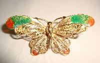 Vintage 80s Enamel Real Silver Vermeil Gold Butterfly Filigree Brooch