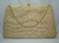 Vintage 50s Cute Gold Lame Sparkle Evening Handbag