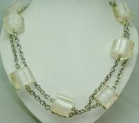 £28.00 - Vintage 70s Chunky Clear White Lucite Cube Bead Silvertone Necklace