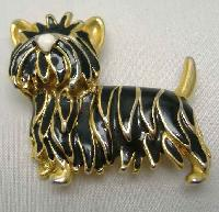 £12.00 - Vintage 80s Black Enamel Scottish Terrier Dog Brooch