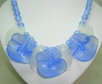 1970s Amazing Chunky Blue and Clear Lucite Flower Statement Necklace