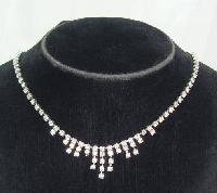 £11.20 - Vintage 50s Sparkling Diamante Graduated Drop Necklace
