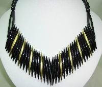 £28.80 - Vintage 60s Black and Gold Lucite Plastic V Shaped Statement Necklace