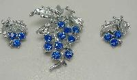 £20.40 - 1950s Blue Diamante Floral Silver Brooch & Earrings Set