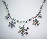 30s AB Rainbow Crystal Diamante Flower Drop Necklace and Earrings Set