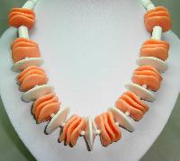 £28.00 - 1960s Chunky White and Orange Lucite Swirl Disc Bead Garland Necklace