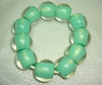 Unusual and Quirky Chunky Green and Clear Lucite Bead Stretch Bracelet