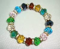 £20.00 - Beautiful Multicoloured Crystal and Diamanate Bead Stretch Bracelet
