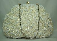£54.00 - Vintage 50s Lovely Cream Sequin & Bead Evening Handbag