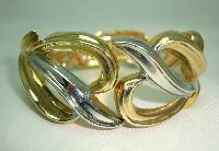 Vintage 80s Stylish Wide Silver and Gold Fancy Cuff Clamper Bracelet