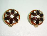 £18.40 - Vintage 80s Quality Domed Brown Gold Enamel Diamante Clip On Earrings