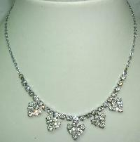 £21.60 - Vintage 50s Sparkling Diamante Flower Drop Necklace