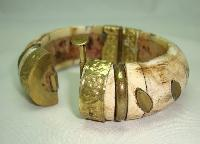 Vintage 30s Chunky Wide Bone and Brass Ornate Cuff Bangle Bracelet