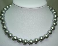 £25.60 - 1980s Quality Grey Faux Pearl Glass Bead Necklace Fab Diamante Clasp!