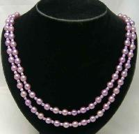 50s 2 Row Lilac Faux Pearl Bead Necklace Diamante Clasp