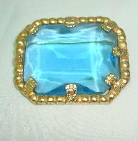 Vintage 50s Big Turquoise Blue Faceted Glass Stone Gold Brooch Signed!