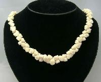 Stunning Antique Victorian Carved Bone Flower Bead Necklace WOW