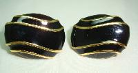£14.40 - Vintage 80s Signed Napier Black Enamel and Gold Oval Clip On Earrings