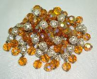 Vintage 50s Citrine Glass Bead & Silver Tassel Cascade Brooch