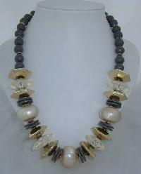 Vintage 70s Chunky Grey Gold & Faux Pearl Bead Necklace