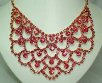 1950s Fabulous Pink Diamante Festoon Cascade Necklace Statement Piece!
