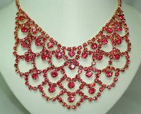 1950s Fabulous Pink Diamante Festoon Cascade Necklace Statement Piece!