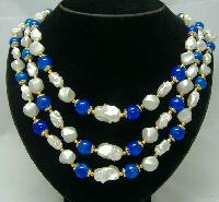 1950s 3 Row Faux Pearl & Blue Bead Necklace Nice Clasp