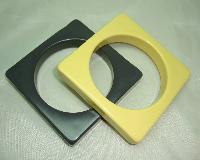 Vintage 70s Fab Pair of Yellow and Grey Square Chunky Plastic Bangles