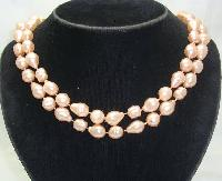 £8.40 - Vintage 50s Pink Baroque Faux Pearl Bead Necklace WOW