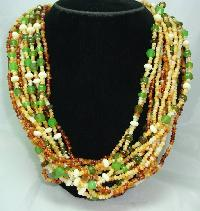 1950s Style 14 Row Amber Green Cream Bead Necklace WOW