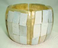 Vintage 50s Fab Wide Chunky Lucite Mother of Pearl Panel Bracelet