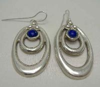 Vintage 70s Fabulous Heavy Oval Sterling Silver Lapis Lazuli Earrings