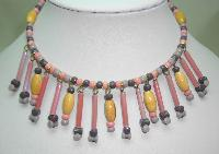 1960s Pink and Grey Glass and Wood Bead Drop Flexible Choker Necklace