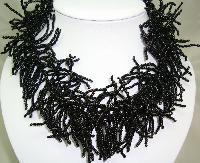 Designer Wide Black Glass Seed Bead Collar Necklace Statement Piece!