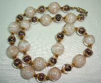 Vintage 30s Art Glass Cream and Brown Gold Flecked Glass Bead Necklace