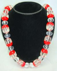 £18.00 - 1950s Style Chunky Lucite Confetti Clear & Red Necklace