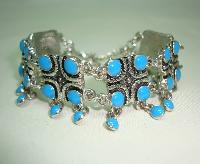 50s Style Wide Turquoise Blue Dangle Drop Ornate Link Silver Bracelet
