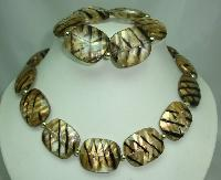 £14.40 - Chunky Gold Black Stripe Lucite Bead Necklace with Matching Bracelet