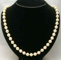 Vintage 50s Signed Vendome Glass Faux Pearl Bead Necklace