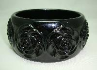 £14.40 - Fabulous Chunky Wide Black Carved Roses Plastic Bangle Statement Piece