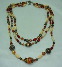 1930s Style 3 Row Cream Red & Gold Lucite Bead Necklace