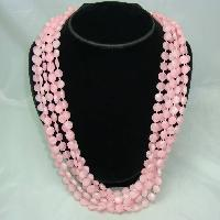 £21.60 - Vintage 50s Fab 6 Row Graduating Pink Lucite Bead Necklace Great Clasp