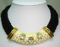 Designer 80s Chunky Two Row Black Cord Cream Enamel Diamante Necklace