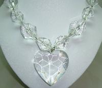 Fab Chunky Clear Lucite Acrylic Bead Necklace with Large Heart Pendant