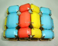 Stunning Wide Yellow Orange Blue Lucite Chunky Stretch Cuff Bracelet